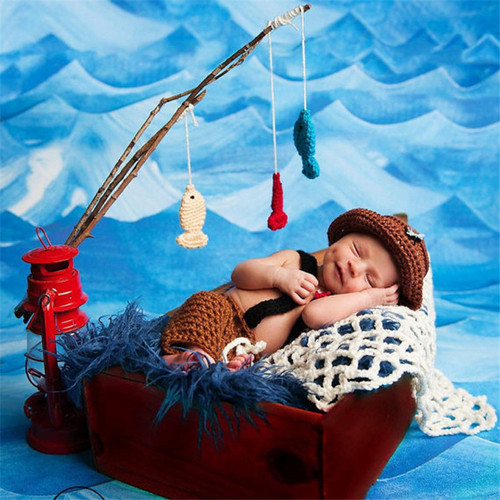 baby boy fisherman photography prop