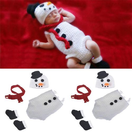 baby crochet snowman photography prop