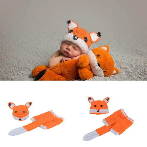 baby crochet fox photography prop