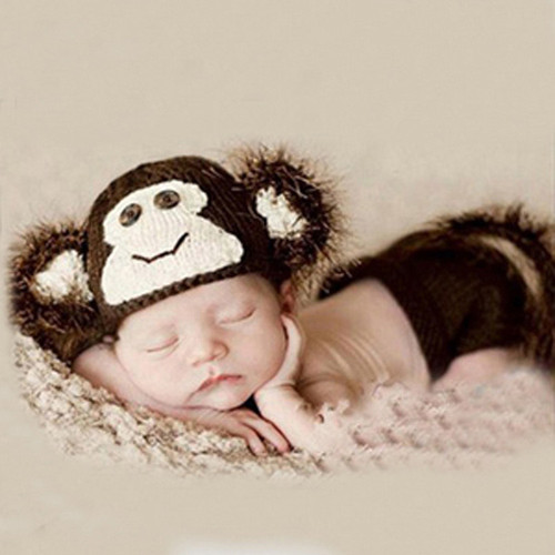 baby crochet monkey photography prop