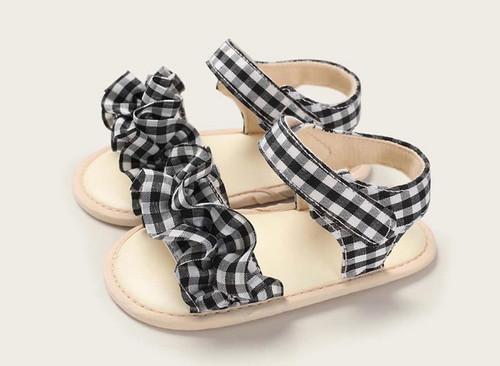 baby black gingham sandals