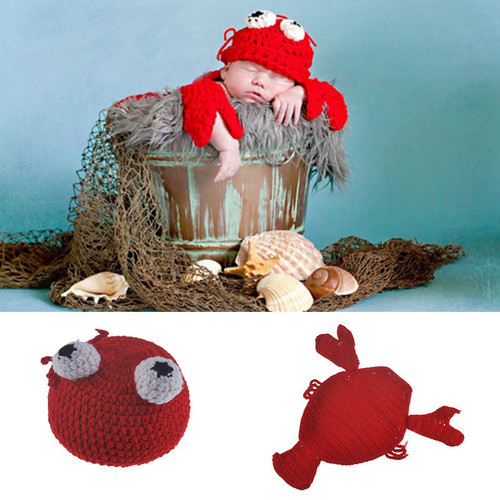 baby crab crochet photography prop
