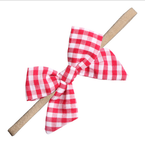 Baby toddler red gingham bow headband
