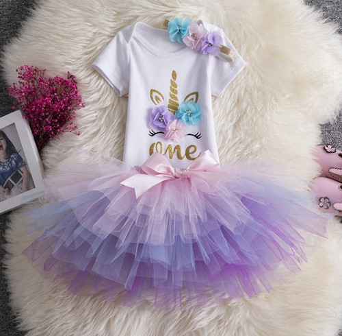 Purple unicorn first birthday baby outfit