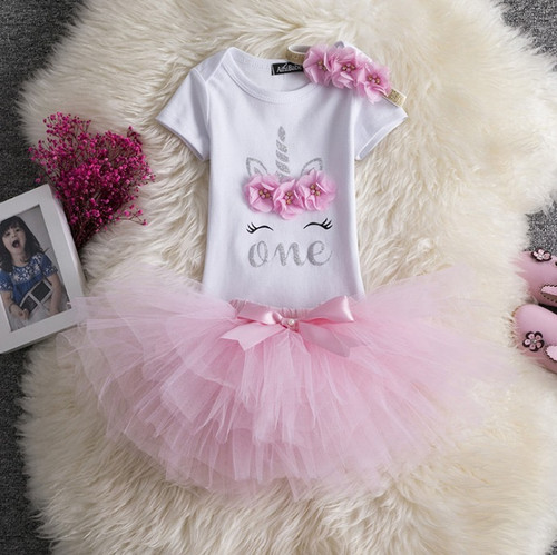 baby girls pink first birthday outfit