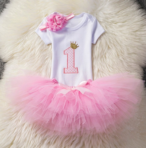 baby girl pink first birthday outfit