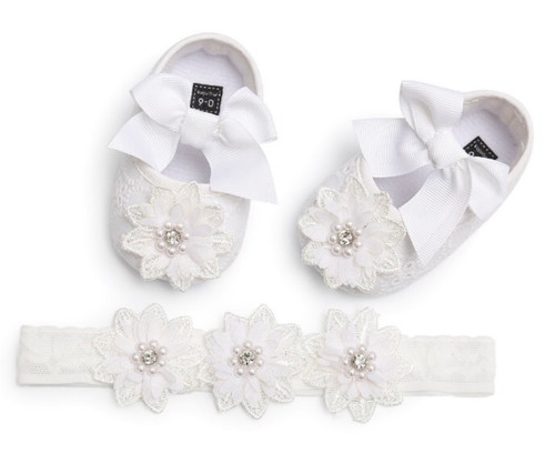 baby baptism shoes and headband