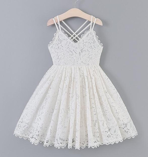 girls white lace flower girl dress