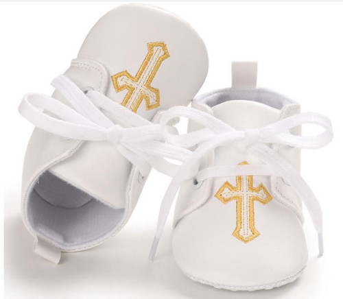 baby boy gold cross shoes