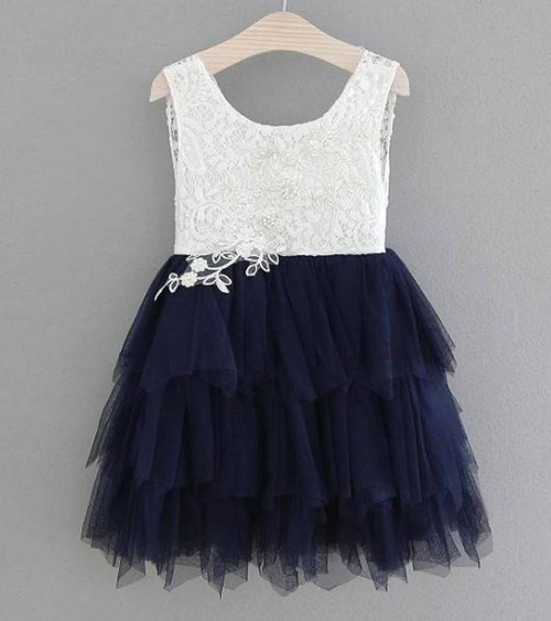 girls navy flower girl dress