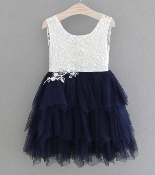 girls navy flower girl dress