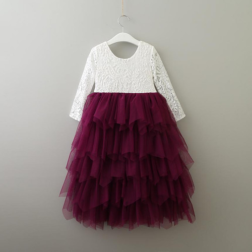 girls plum flower girl dress