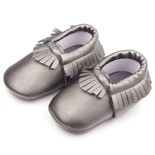 metallic silver baby moccasins