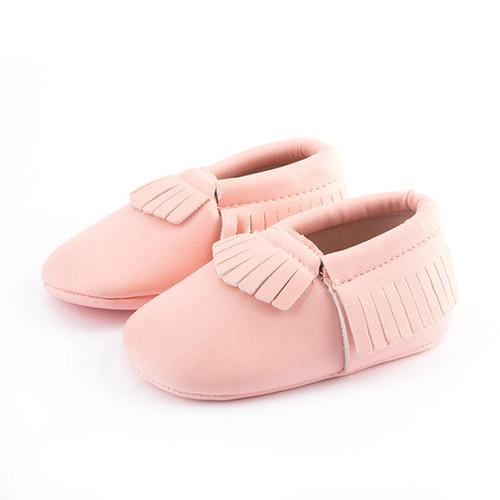 baby girls pink moccasins