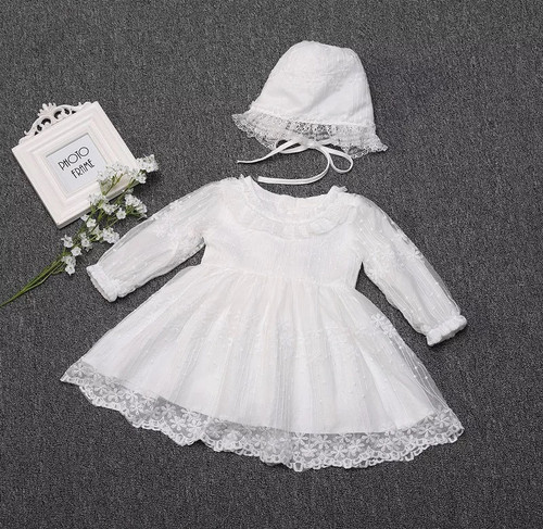 baby long-sleeve baptism dress