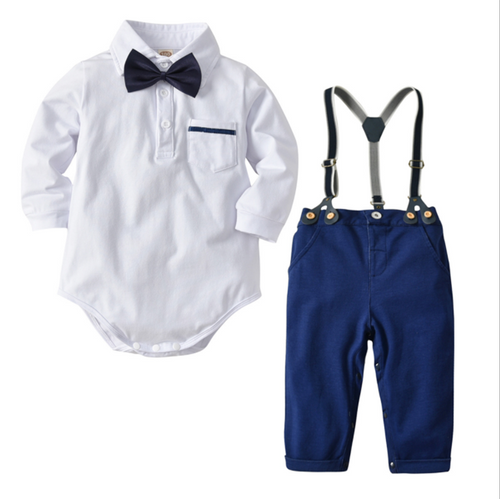 baby boy navy and white suspenders set