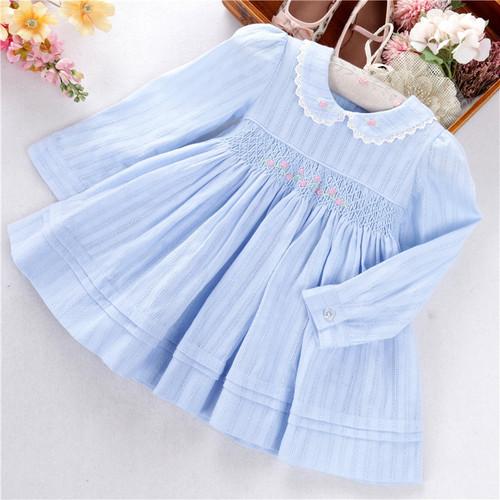 baby girls blue smocked dress