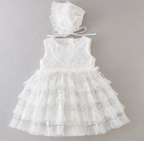 baby girl sleeveless baptism dress