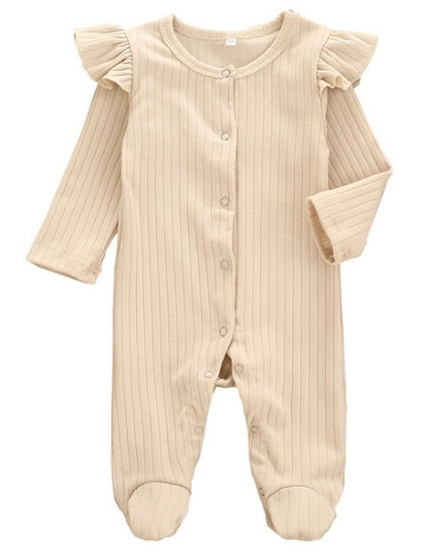 baby girls cream ribbed footie