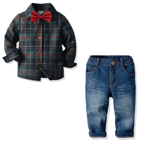 plaid baby boy outfit