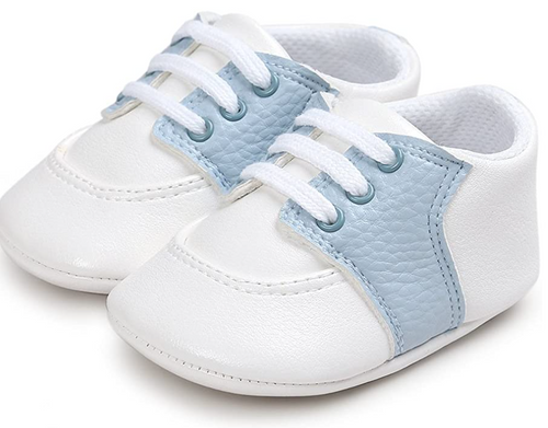 blue baby saddle shoes