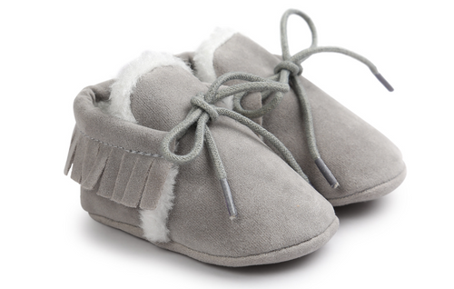 baby grey moccasins
