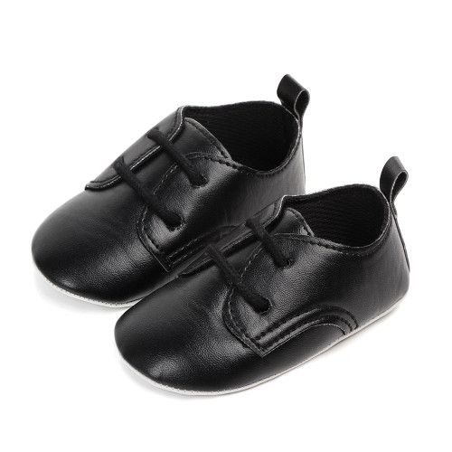 baby boys matte black dress shoes