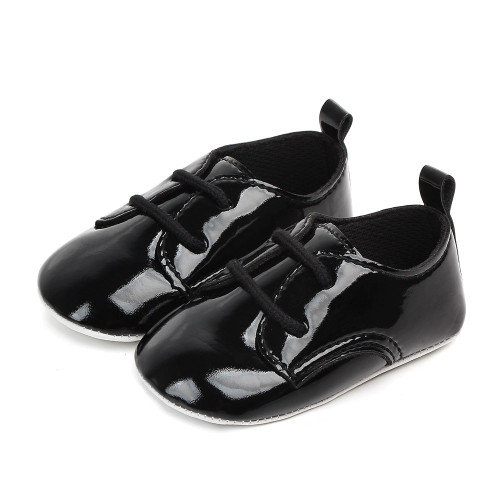 baby boy black glossy dress shoes