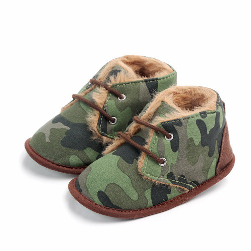 baby green camouflage boots