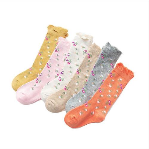 baby girl floral knee high socks