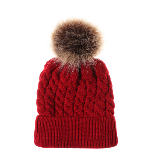 baby toddler red christmas pom hat