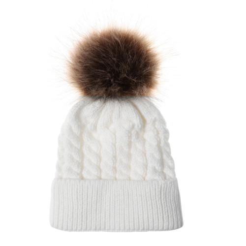 baby toddler cream pom hat