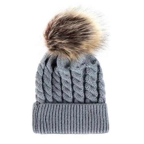 baby toddler grey knit pom hat