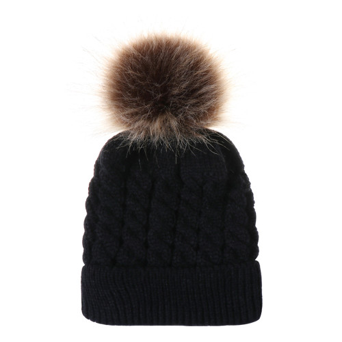 baby toddler black pom hat