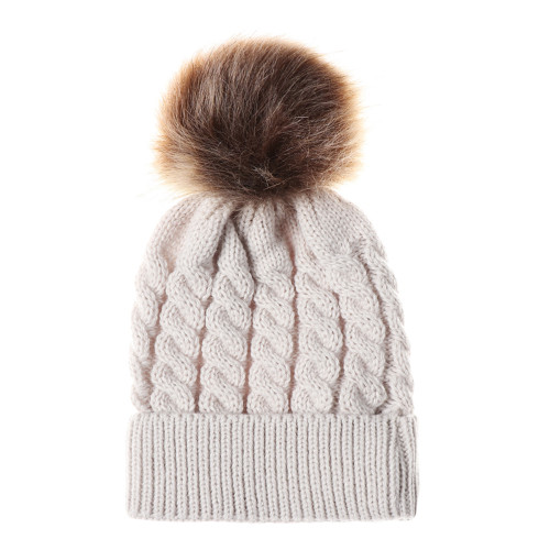 baby toddler beige pom winter hat