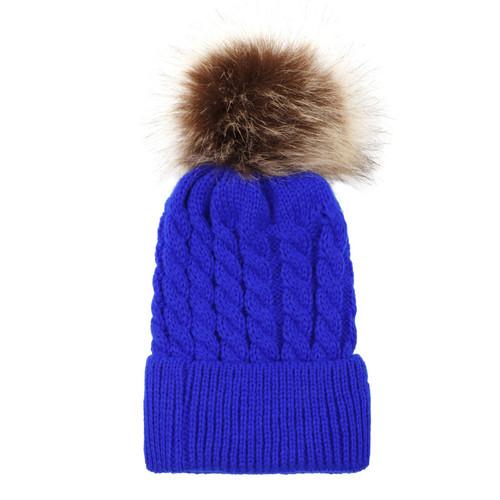 baby toddler dark blue pom hat