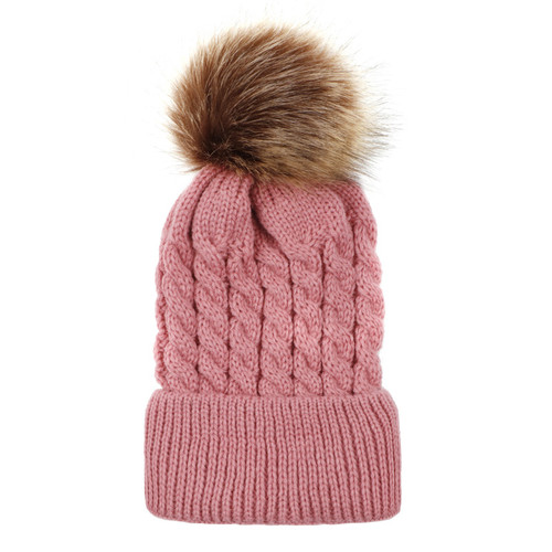 baby toddler pink pom hat