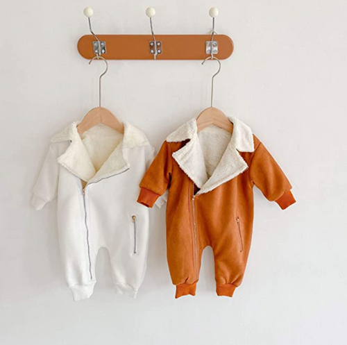 baby bodysuit with sherpa lining