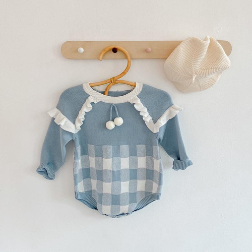 baby girl blue knit romper