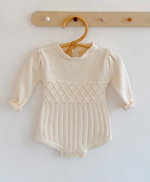 baby girl cream knit romper
