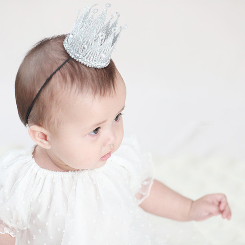 baby silver crown headband