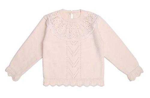 baby girls pink eyelet sweater