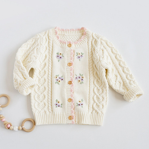 girls cream floral embroidered cardigan