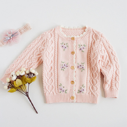 baby girl pink embroidered cardigan