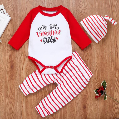 baby boys first valentine's day outfit