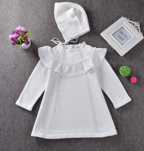baby girls knit white dress