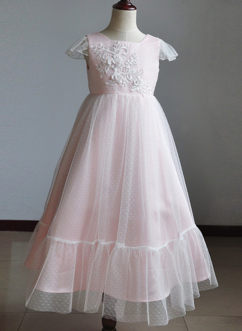 light pink floral flower girl dress