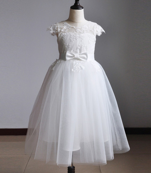 girls short sleeve communion gown