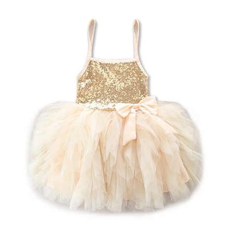 girls gold flower girl dress
