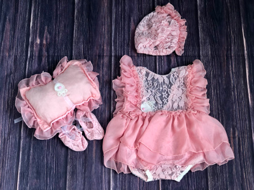 baby girls newborn pink lace romper photography prop